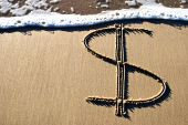 Dollar Sign Written In Sand