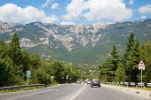 stock photo of slippery-roads  - Beautiful landscape with mountain - JPG