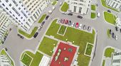 Parking with cars and playground in modern residential complex. View from unmanned quadrocopter.