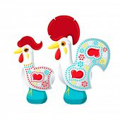 Decorated white Barcelos rooster and hen - symbols of Portugal