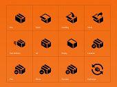 Box icons on orange background.