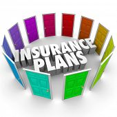 stock photo of insurance-policy  - Insurance Plans Many Doors Choose Best Policy Coverage - JPG