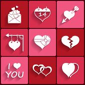 Set icons of Valentine's day red hearts signs