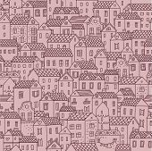 Hand-drawn seamless pattern with cute european town. Vector texture with small houses.