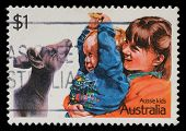 AUSTRALIA - CIRCA 2002: A stamp printed in Australia shows image of Aussie kids, series, circa 2002
