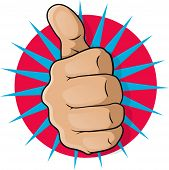 stock photo of clenched fist  - Vintage Pop Art Thumbs Up - JPG