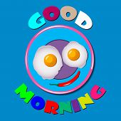Comic Scrambled Eggs On Blue Plate