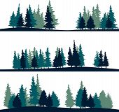 stock photo of redwood forest  - set of different silhouettes of landscape with fir - JPG