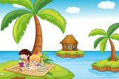 foto of bookworm  - Illustration of the three islands in the ocean - JPG