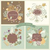 Cute set of four floral backgrounds with flowers, butterflies, birds, hedgehog and cat. Vintage frames with place for text in retro colors. Spring time vector cards. Wedding invitation design.