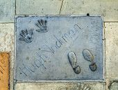 Handprints Of Hugh Jackman In Hollywood Boulevard In The Concrete Of Chinese Theatre's Forecourt