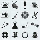 stock photo of dress mannequin  - Set of sewing and needlework icons - JPG