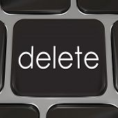 stock photo of backspace  - Delete Key black computer keyboard correct mistake error - JPG