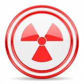 radiation red white glossy web icon