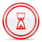 time red white glossy web icon
