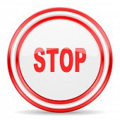 stop red white glossy web icon