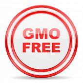 gmo free red white glossy web icon