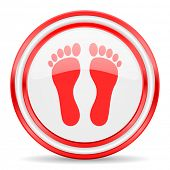 stock photo of webbed feet white  - foot red white glossy web icon - JPG