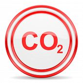 carbon dioxide red white glossy web icon