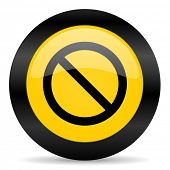 access denied black yellow web icon