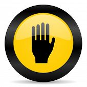 stop black yellow web icon