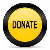 donate black yellow web icon