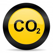 carbon dioxide black yellow web icon