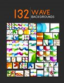 Mega collection of wave abstract backgrounds with copy space. For business tech design templates, web design, presentations