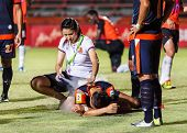 Sisaket Thailand-may 24: First Aid Team Of Udonthani Fc. (white) In Action During Regional League Be