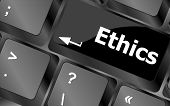 Ethics Concept On The Modern Computer Keyboard Key