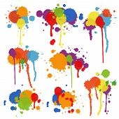 foto of pigment  - Set of nine different shapes of multicolored stains and blots in brightly colored ink  paint or pigment with drips and runs in an artistic display  vector illustration - JPG