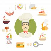 Cooking and food icons in fat style