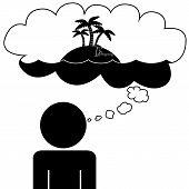 Man dream at vacation