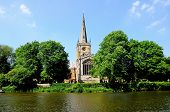 stock photo of avon  - Holy Trinity Church seen across the River Avon Stratford - JPG