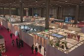 Top View Of Booths And People At Si' Sposaitalia In Milan, Italy