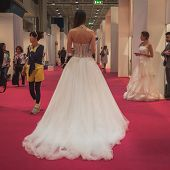 Model Wearing Wedding Dresses At Si' Sposaitalia In Milan, Italy