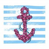 Vector Print Anchor With Flowers