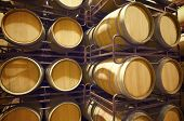 stock photo of fermentation  - stacked wine barrels to ferment the wine - JPG