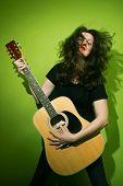 Woman Playing Rock Guitar