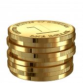 Stack of golden shinny one dollar coins isolated on white.