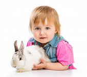 cute baby and easter bunny on white background
