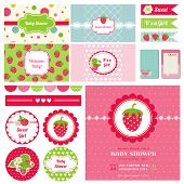 Scrapbook Design Elements - Strawberry Baby Shower Theme - in vector