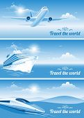 Travel banners on transportation theme