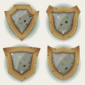 Stone And Wood Shield Security Icons