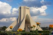 image of tehran  - view of Azadi tower in Tehran Iran - JPG