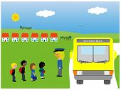 picture of bus driver  - Vector illustration of children of different races waiting to get on the school bus - JPG