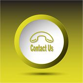 Contact us. Plastic button. Vector illustration.