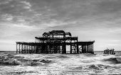 The West Pier in Brighton, UK, black and white