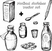 Medical sketches vector set