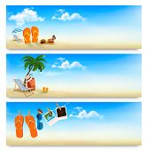 Three summer vacation banners. Raster version.